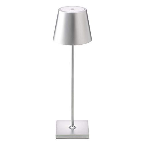 SIGOR Nuindie - Dimmbare LED Akku-Tischlampe Indoor & Outdoor, aufladbar mit Easy-Connect, 24h Leuchtdauer, silber
