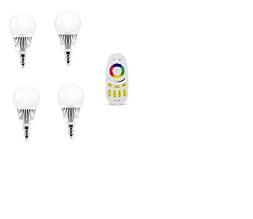 4x Fut013 LED Bulb E14 RGB+CCT 6W + 1x Fut096 RGBW 4 Zonen Fernbedienung touch RF 2,4 GHz ALLES Original Mi-Light MILIGHT© Miboxer©