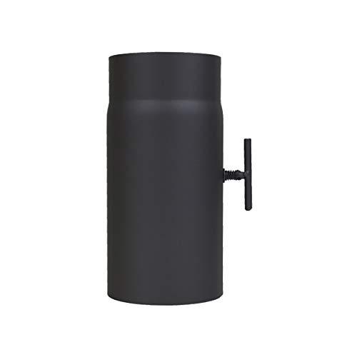 LANZZAS Rauchrohr Ofenrohr Kaminrohr Verlängerung 250 mm mit Drosselklappe Ø 120 mm schwarz