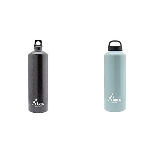 Laken, Bottiglie e accessori Unisex Adulto, Grigio, 1,5L & Borraccia di Alluminio Bottiglia d'acqua con Apertura Ampia e Tappo a Vite con Impugnatura, 1L, Azzurro Light