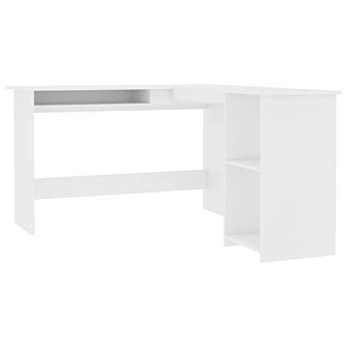vidaXL Eckschreibtisch in L-Form Computertisch Schreibtisch Bürotisch PC Tisch Winkelschreibtisch Arbeitstisch Weiß 120x140x75cm Spanplatte