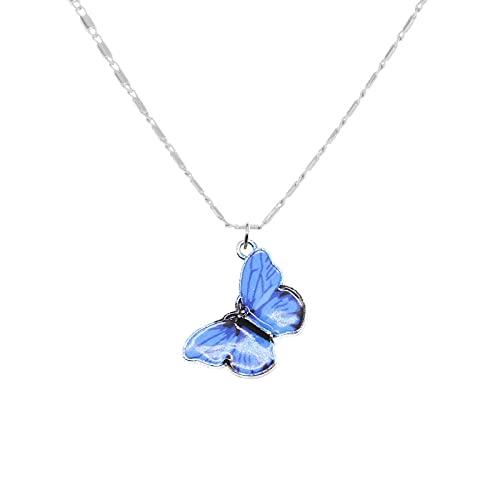 TTbaoz Collar de Mariposa Azul Degradado, Collar con Colgante de Mariposa arcoíris Plateado para niña, Regalo de joyería
