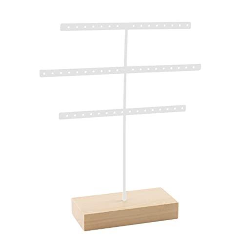 oshhni 52 gancho de 3 niveles de pendiente de joyería que muestra los soportes Base sólida de madera estable - Blanco