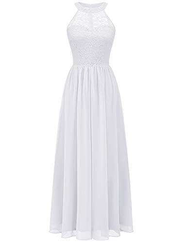 WedTrend Damen Spitzenkleid Brautjungfer Kleid Lang Chiffon Abendkleid Party Cocktailkleid Neckholder Sommerkleid Weiß WT0201 White S