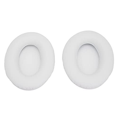 Xuzuyic Reemplazo de 2 Piezas de Almohadillas para los oídos/Accesorio de cojín para Auriculares/Cuero PU Premium + Esponja/Durabilidad/Adecuado para Auriculares inalámbricos(Blanco)
