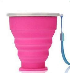 1pc plegable taza portátil silicona retráctil collapsible taza de viaje al aire libre 200-300ml camping senderismo picnic drinkware (Capacity : 300ml, Color : Rosado)