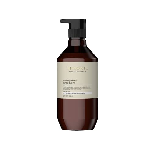 THEORIE Santal Blanc Hand and Body Wash- Signature Fragrances- Antimicrobial, Nourishing, Vegan, Luxury Soap with Notes of Vetiver, Amber, Sandalwood & Cedar- Label May Vary, Pump Bottle 400mL