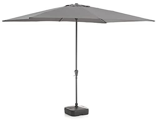 Acaza Parasol rectangulaire 2 x 3 m, Protection UPF, Ombrelle, Toile Solide, pour Terrasse, Jardin, sans Socle, Gris