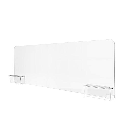 Sneeze Guard for Office Cubicle Wall (48'W x 13'H), Portable Plexiglass Shield Wall Extender, Clear Acrylic Plastic Barrier for Cubicle With Easy Install Adjustable Wall Clamps [Made in USA]