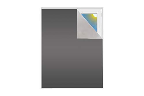 Verdunklungsstoff Meterware   Sonnenschutz zu 100% verdunkelnd   Folie mit Thermobeschichtung   lichtundurchlässige Meterware für Fenster, Velux und Dachfenster   Blackout (Grau)