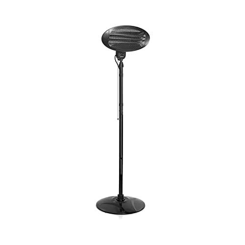 GLEYDY Outdoor Indoor Patio Heater, Electric Quartz Free Standing Floor Patio Heaters, Adjustable Height & Tilt Waterproof Resistant Infrared Overheat Protection 3 Power Settings 2kw