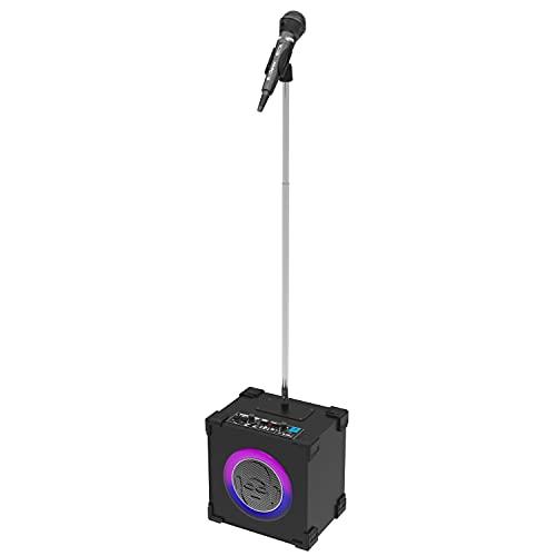 iDance CUBESTAGE Karaoke Set - Altavoz Bluetooth Portatil con Luces LED de Disco y Micrófono - 30 Watt, Efecto de Eco y Soporte para Micrófono - Schwarz