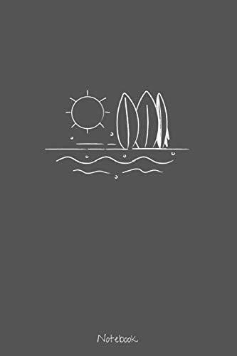 Notebook: Liniertes Notizbuch DIN A6 - 110 Seiten | Surfer Welle Reisen Tagebuch Abenteuer Meer Koffer Flugzeug Erinnerung Memories | Geschenk zu Weihnachten