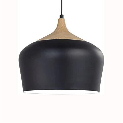 Modernt tak hängsmycke lätt enkel matt svart ljuskrona med trä mönster metall nyans, hängande belysningsarmaturer för matsal, kök, sovrum, vardagsrum