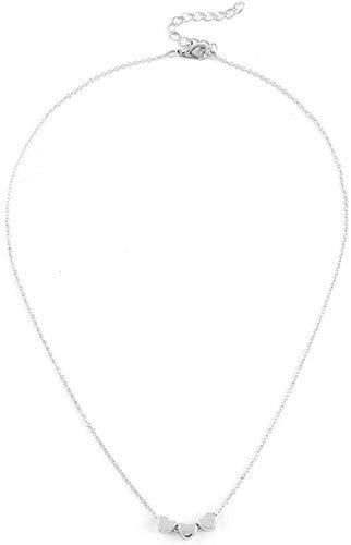 TYWZH Collar de joyería Simple Collar de Tres Corazones de Amor con Cuentas de Lentejuelas Doradas, Collar con Colgante para Mujer, joyería K