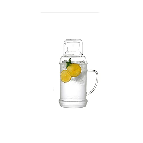 HEIYANQUANch Tetera, Conjunto de Botellas de Agua con Botella de Vidrio, Adecuado para Sala de Estar, Dormitorio, Oficina, Mesa, 70 oz / 2000ml (Transparente)