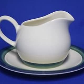 Pfaltzgraff Ocean Breeze ~ Gravy Boat & Underplate ~~USA~Stoneware~Blue, Teal, Green Bands~VERY Hard to Find~Unused/Mint Condition