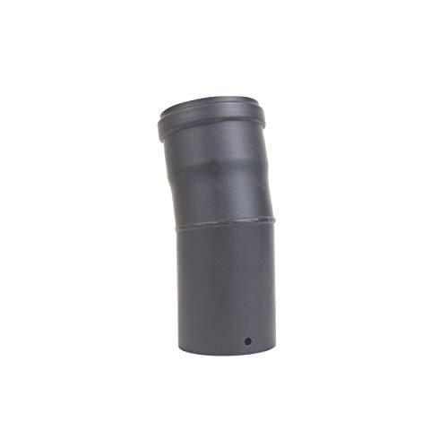 LANZZAS pellepijp boog 15° graden in diameter DN Ø 80 mm, in zwart metallic of gietijzeren grijs, pelletboog, pellebuisboog, kachelpijp boog, voor pelletkachels modern gietijzer.