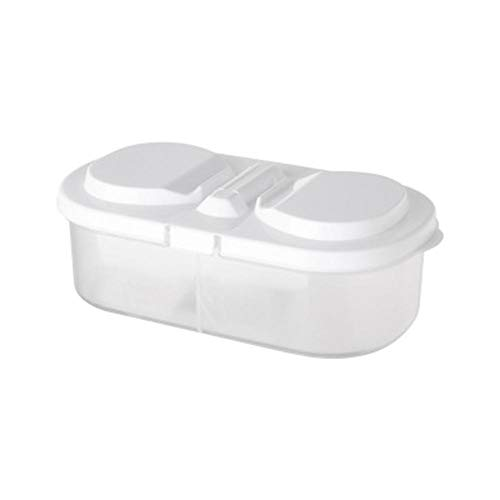Oinna Frigorífico de cocina multifunción, caja de almacenamiento de plástico con doble rejilla, revestimiento de grano de alimentos sellado de cristal blanco