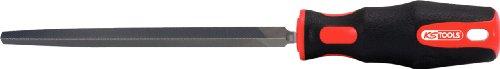 KS TOOLS - 157.0424 - Lime triangulaire bâtarde emmanchée, L.150 mm - Poignée bi-matière