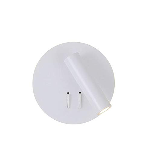RAQ LED wandlamp met schakelaar, 3 W, spotlight, 6 W, vrije achtergrondverlichting, rotatie, wandlamp binnen, voor thuis / nachtkastje Warm White White Circle