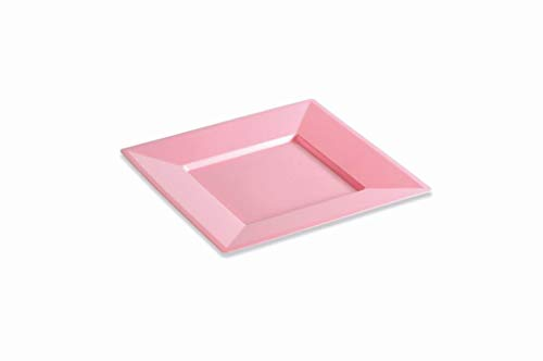 12 Assiettes carrées 24 cm Rose Pastel réutilisables