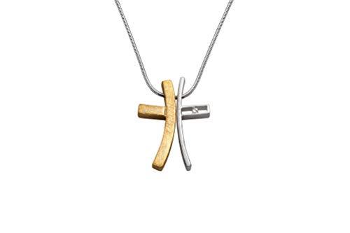 Perlkönig Kette Halskette | Damen Frauen | Silber Gold Farben | Kreuz Anhänger | Bicolor | Nickelabgabefrei