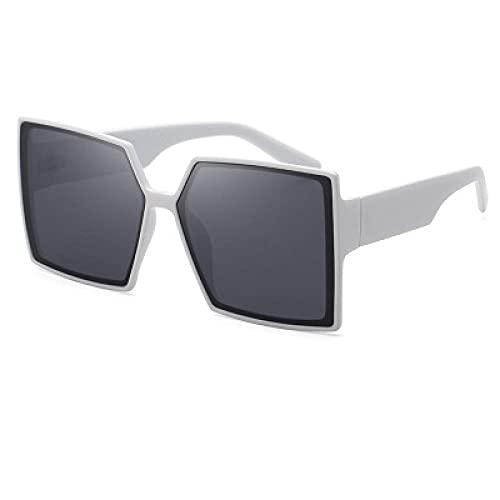 DLSM Gafas de Sol de Las Damas de Las Gafas de Sol con Gafas de Sol de Caja Grande para Correr, montaña, Bicicleta, Motocicleta, conducción, Golf-Gris Blanco