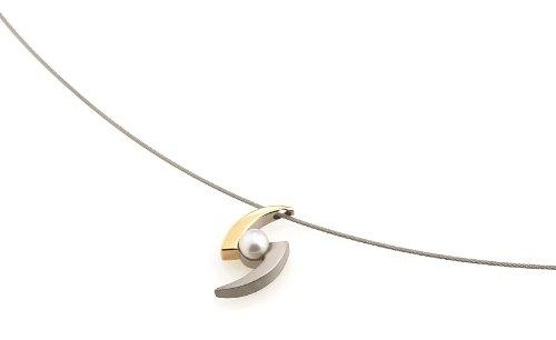 Boccia Damen-Anhänger Titan teilweise goldplattiert mit Perle 0772-02