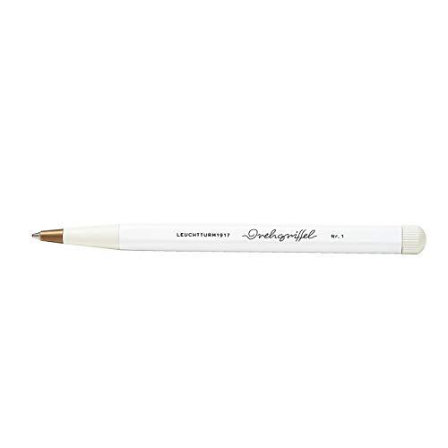 LEUCHTTURM1917 362451 Drehgriffel Nr. 1, Weiß, Kugelschreiber mit königsblauer Tinte