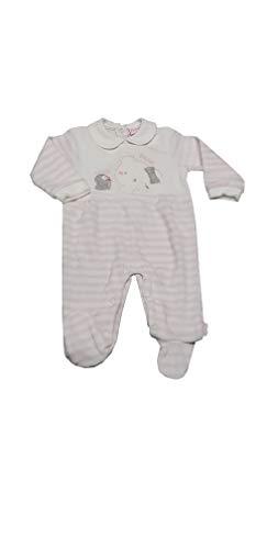 Pelele de chenilla para niña con pies canastilla para bebé (Art. TC78N) (TC02Z crema, 1-3 meses)