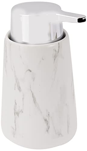 WENKO Dispenser sapone Adrada bianco - Dispenser sapone liquido Capacità: 0.33 l, Ceramica, 10.5 x 15 x 8.5 cm, Bianco