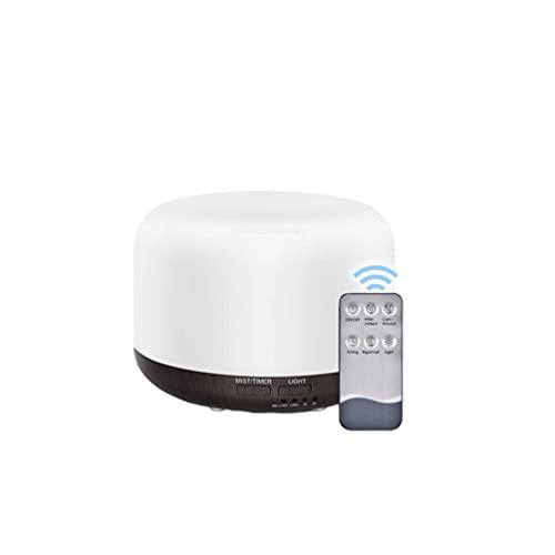 DOITOOL Difusor de aroma de 300 ml, luz de noche, base de madera, difusor de aceite esencial, lámpara LED humidificador de aire frío con control remoto para el hogar, oficina, yoga, spa, negro