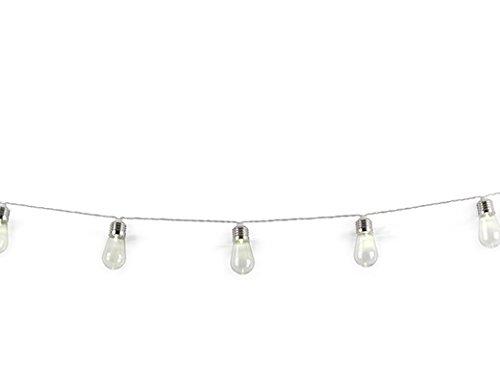 Kikkerland Edison Glühbirne Lichterkette, PS, PVC, Aluminium, Weiß, 8.5 x 18.6 x 22 cm