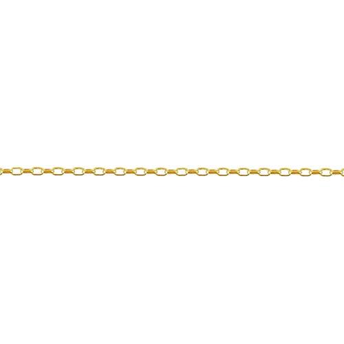 [ルビイ] イエローゴールド K18 2面カットライトロングロール チェーン ネックレス 幅2.3mm 長さ60cm