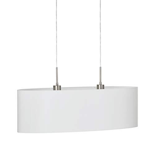 EGLO Pendellampe Pasteri, 2 flammige Textil Pendelleuchte, Hängeleuchte oval aus Stahl und Stoff, Farbe: Nickel matt, weiß, Fassung: E27, L: 75 cm