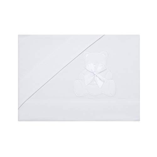 PEKITAS Juego Sabanas 3 Pcs Cuna 60x120 cm 100% Algodón Fabricado En Portugal Osito Blanco