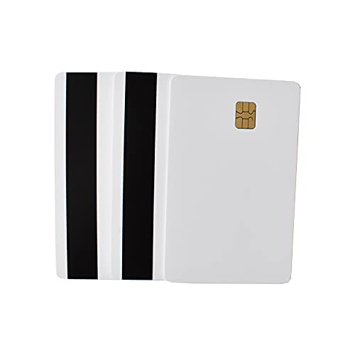 SLE4442 Blank White EMV Chip Cards, HiCo Magnetic Stripe - 10 Pack
