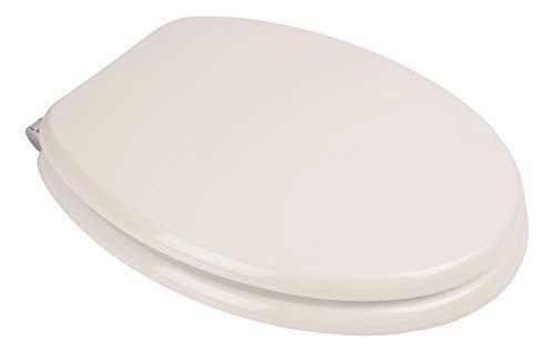 Calmwaters® WC Sitz Weiß mit Absenkautomatik Modern Wellness, Fast-Fix-Befestigung aus Metall, universale O-Form, stabiler Holzkern Toilettendeckel, Komfort Klodeckel, Weiß - 26LP2889