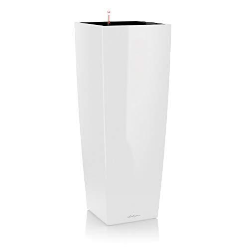 LECHUZA CUBICO Alto Premium 40, Weiß Hochglanz, Hochwertiger Kunststoff, Inkl. Bewässerungssystem, Herausnehmbarer Pflanzeinsatz, Für Innenraumbegrünung, 18230