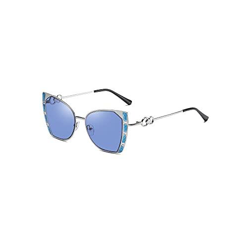 FEINENGSHUAI Nstyj Gafas de sol para mujer, gafas de sol de gran tamaño para mujer con diamantes de imitación de cristal (color: azul)
