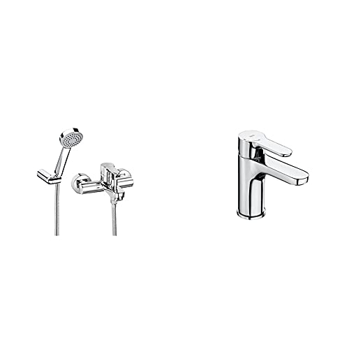 Roca A5A0109C02 Mezclador Baño-Ducha, Colección L20, Cromado+ A5A3J09C00, Monomando Lavabo Con Inicio Fresco, Cromado