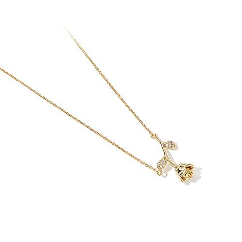Collar de cumpleaños Collar de aleación de Flores de Rosa Hembra nicho de clavícula Cadena Simple Temperamento Collar Cuello joyería