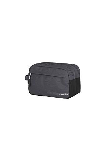 travelite Handgepäck Kosmetiktasche, Gepäck Serie KICK OFF: Praktische Kulturtasche für Urlaub und Sport, 006920-04, 26 cm, 5 Liter, d'anthrazit (grau)