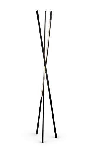 Falsa Escuadra - Lámpara de pie Wave. Lámpara LED. Lámpara trípode. Negro. Diseño minimalista y elegante. Control remoto. Exclusiva en Amazon. Ideal salón, dormitorio o espacio de trabajo