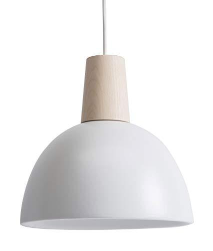 Lussiol 250425 - Lámpara colgante de cerámica, 60 W, color blanco/madera natural, diámetro 25 x altura 25 cm