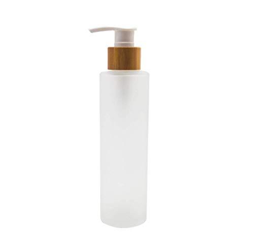 Pumpflasche aus Milchglas, leer, nachfüllbar, Pumpflasche mit Bambus-Pumpkopf, Toilettenartikel, Aufbewahrungsbehälter für Shampoo, ätherische Öle, Duschgel, Handwäsche, Lotionspender, 150 ml