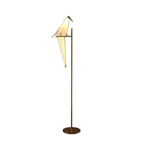 Lámpara De Pie Bird Art Deco Papel Lámpara de pie Recamara Vida de la lámpara Sala for Origami Estudio Luz Mesita de luz de lectura lámpara de planta Gold Lámpara De Piso (tamaño : A)