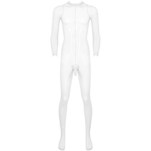 Agoky Herren Ganzkörperanzug transparente Overall Jumpsuit Skinny Unterwäsche Stretchy Stocking mit Penishülle Ultradünne Strumpfhose Dessous Weiß OneSize