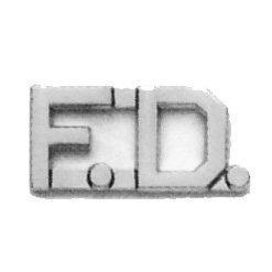 FD F.D. FIRE DEPARTMENT FIREFIGHTER Collar Brass Insignia Pins NICKEL 1/2' (Pair !!)